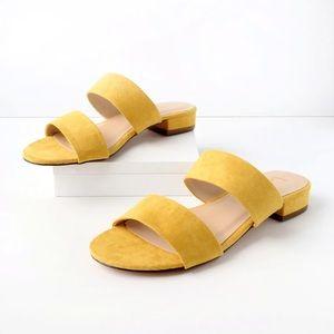 LULU'S | Devin Mustard Vegan Suede Slide Sandals